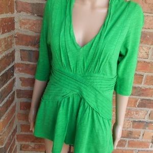 Deletta Kelly Green Waist Weave V Neck Top Small